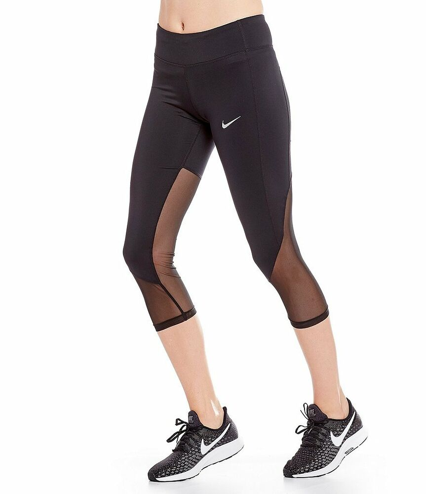 pretty nice a2fb8 47e80 Details about NIKE DRI-FIT WOMENS POWER RACER COOL RUNNING CROP TIGHTS BLACK   891196-NWT