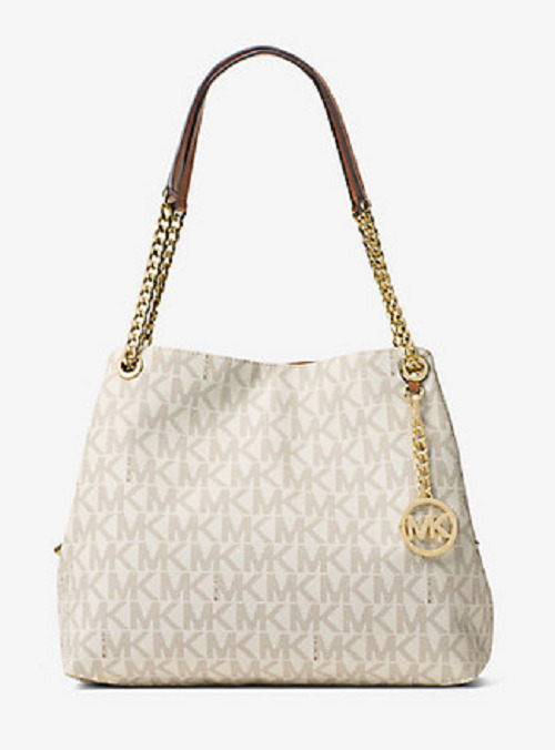 db4914d294c2d Details about New Michael Kors MK Jet Set Chain Large Logo Shoulder Tote  Handbag Purse Vanilla
