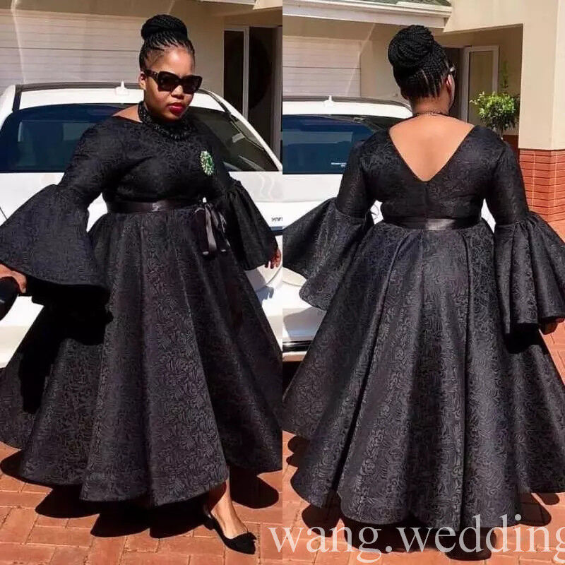 0538c584f67 ... Details about Black African Plus Size Evening Dresses Ankle Length Lace  Formal Party Prom Gown ...