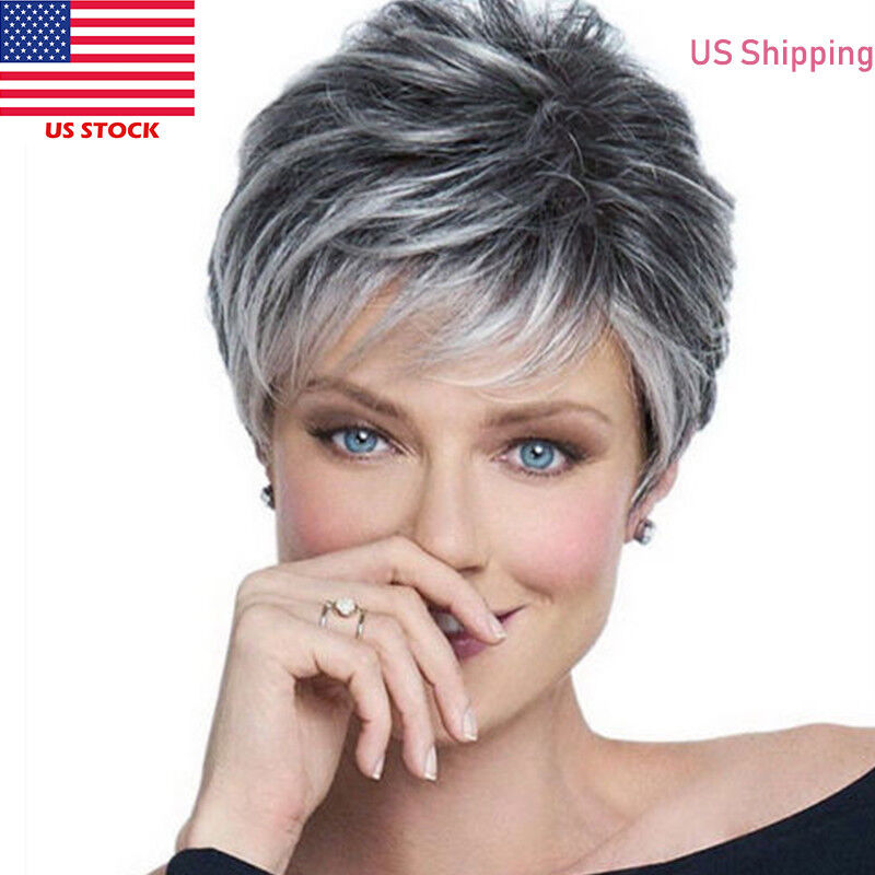 Details about US 8 inch Women s Short Natural Grey Hair Wigs Cool Ladies  Mixed Hair Wig Wigs 3333378088