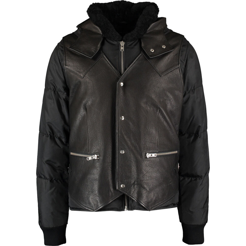 f4888630110 Details about THE KOOPLES Man's Black Leather Panel Padded Jacket Large