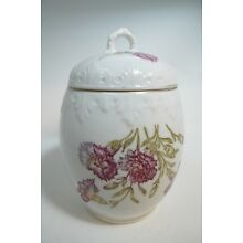 Vintage Porcelain Floral Ginger Jar with Lid Hand Painted Gold