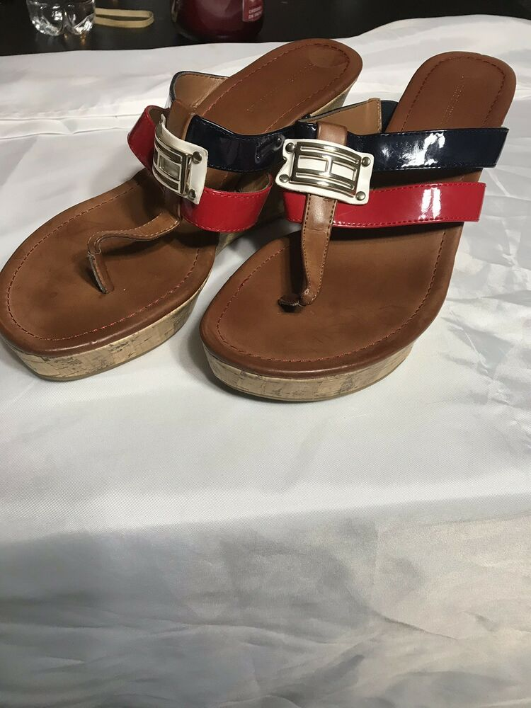 """f75693f3693333 Details about Tommy Hilfiger Womens Size 9M TWMECCA-T Thong Toe 4"""" Cork  Platform Wedges"""