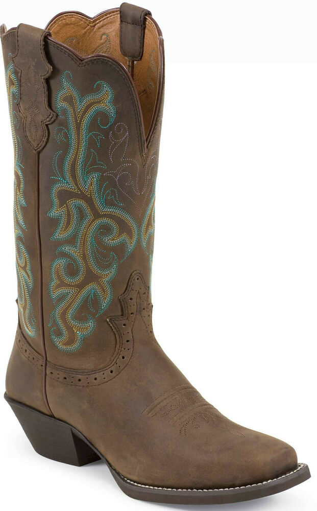 7dc0370ddd08d Details about Cowboy Boots Justin Apache Stampede Brown Square Toe  Embroidery L2552 Size 7 EUC