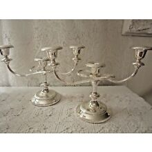 SILVER PLATED CANDLEABRA PAIR