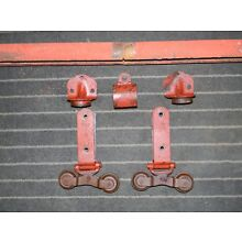 Antique Cannonball Barn Door Hardware Rollers w/ Track, End Caps & Hanger