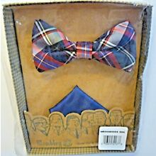 Wembley Navy/Red Plaid Pre-Tied Bowtie with Blue Pocket Square Holiday Gift Set