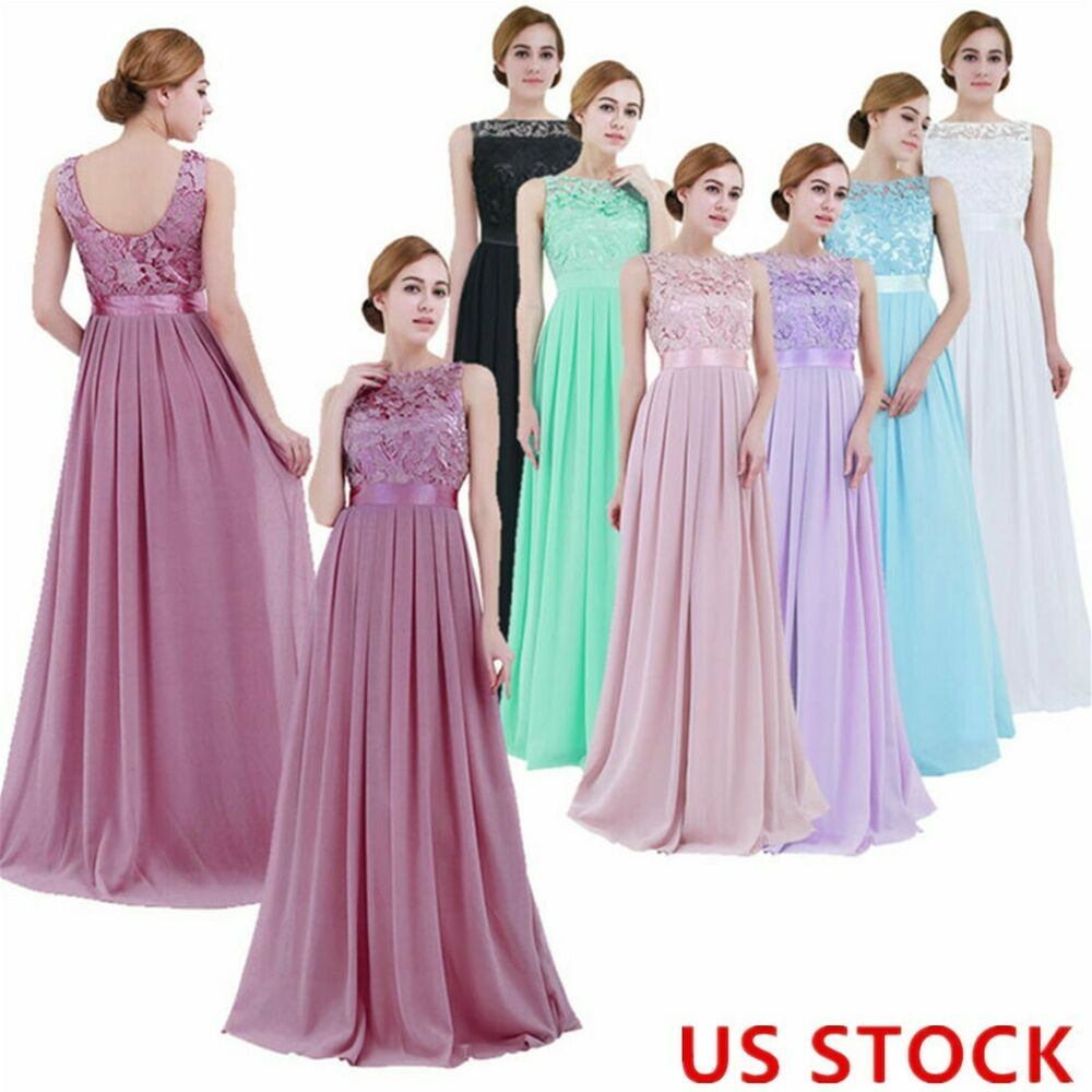 6b05e64515ed Hot Womens Long Evening Dress Lace Formal Bridesmaid Wedding Cocktail Prom  GownUSD 7.69
