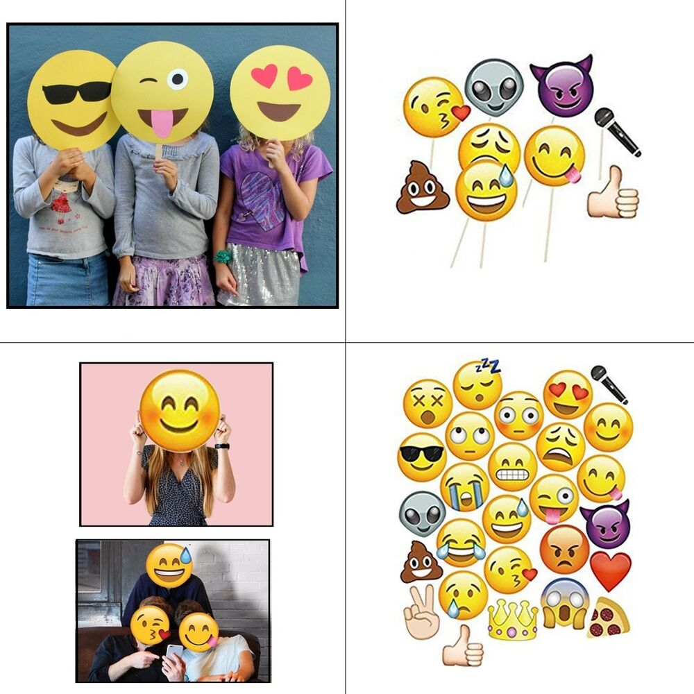 Details About Emoji Faces Photo Booth Props Birthday Party Game Selfie Funny Mask Photography
