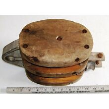 Vintage Maritime Sailing Ship Double Wooden Block Tackle Hardware for Rigging