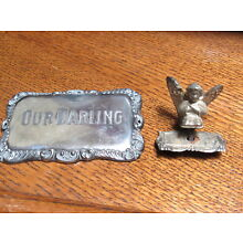 Antique Silverplate Our Darling Casket Plaque and Small Figural Angel Plaque