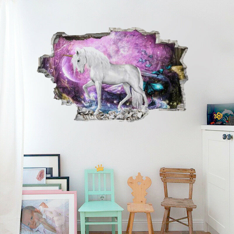 3D Unicorn Wall Stickers Wall Decal Quote Kids Girl Bedroom Home ...
