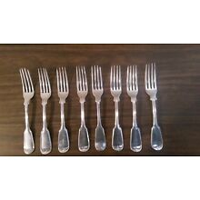 8 AMERICAN COIN SILVER FORKS. Upturned Fiddle Thread. 7 5/8