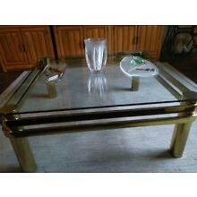 Brass and Glass Cocktail/Coffee Table