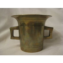 vintage large heavy brass mortar handled container apothecary cup