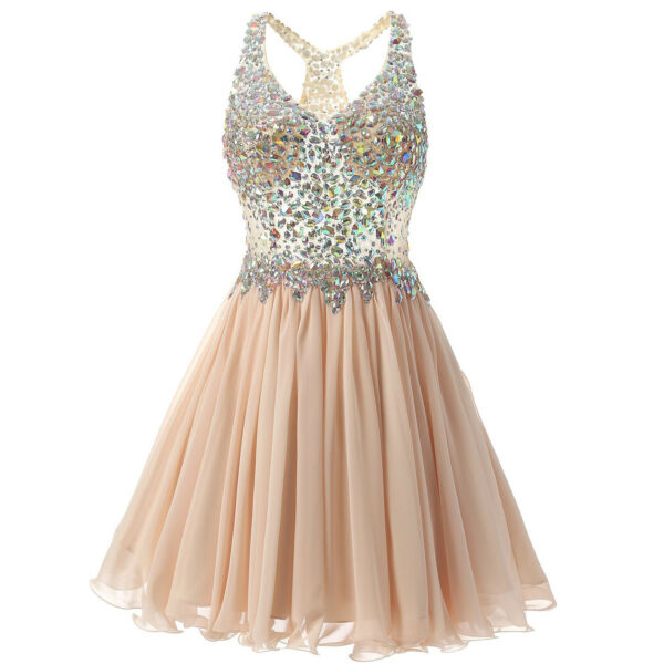 Abito paillettes sera Party Dress corto in Chiffon Prom Homecoming