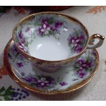 Old Gold Hand Painted China Tea Cup & Saucer Beautiful White & Purple Violets