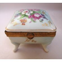 Antique Hand Painted Floral Porcelain Trinket Box Brass Hinged  Marked 53/308