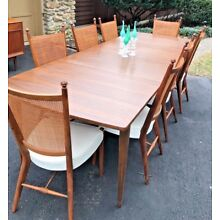 Drexel Declaration walnut dining 8 chairs, table, 2 leaves MCM Kipp Stewart