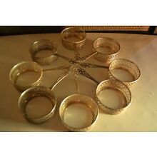 Set Of 8 ANTIQUE Sterling Silver  Custard Cup Holders