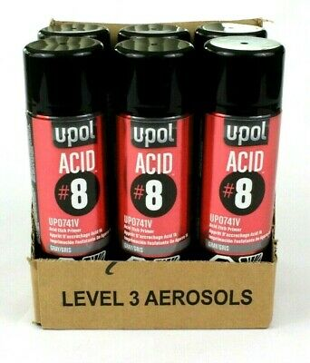 U-POL UP0741V 6 Cans Acid #8 Gray Etch Primer Aerosol Spray Can 450ML UPOL