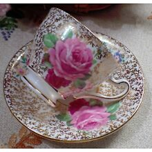 Vintage Clare Bone China Made In England Chintz Teacup & Saucer Cabbage Roses