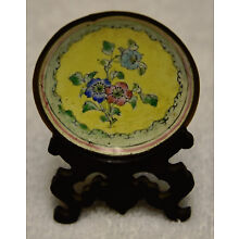 Antique Canton Chinese Hand Enameled Brass Miniature Plate Dish & Stand