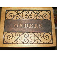 Early 1900's Orders Trade Sign Copper Wash Sign