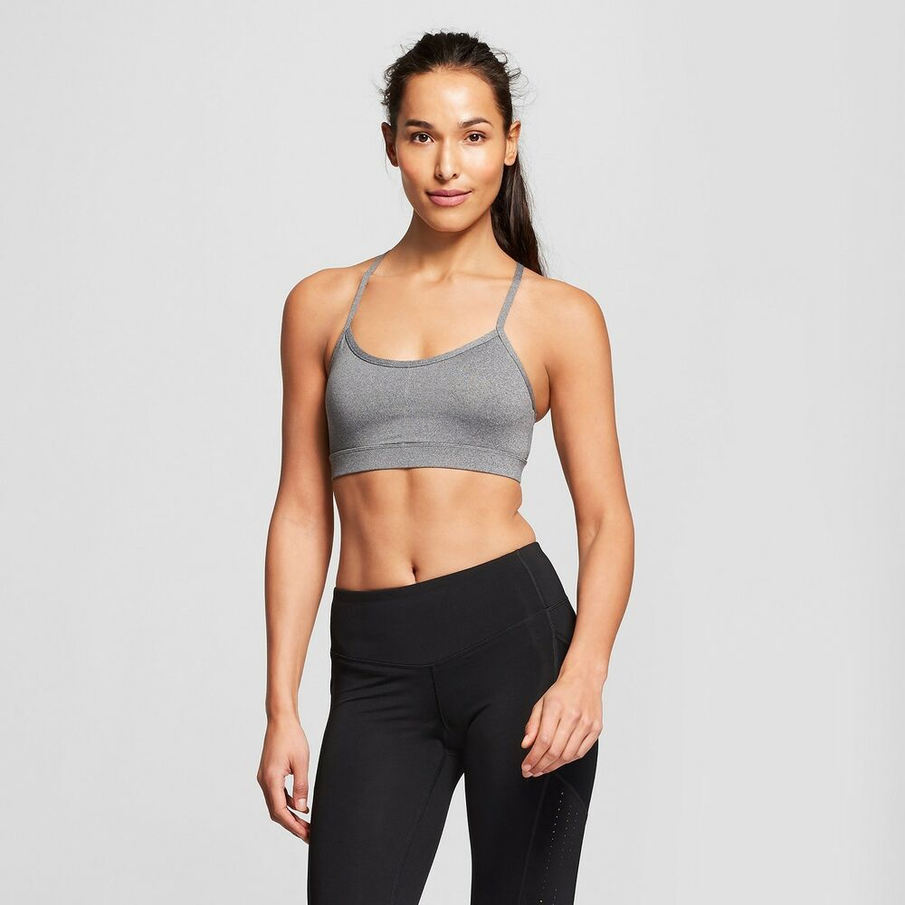 87d05df4f6fc1 Details about Women s Criss-Cross Strappy Back Cami Sports Bra - C9 Champion  -Gray  Black