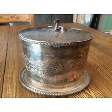 Vintage Antique Hallmarked English Silver Plate Biscuit Box Figural Dog Finial