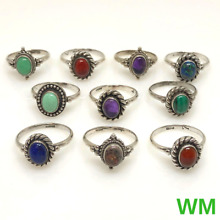W&M .925 Sterling Silver (26.2g) Assorted Gemstone Wholesale Lot Of 10 Rings