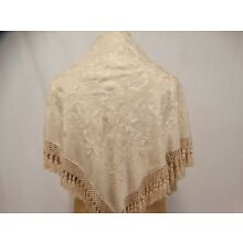 ANTIQUE Silk Hand Embroidered SHAWL Canton Creme Wedding Knotted Fringe Shawl