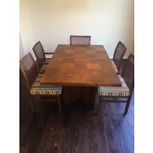 "Mid Century Modern Lane ""Staccato"" Brutalist style dining table leaves & chairs"