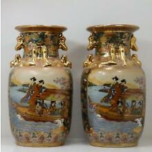Pair of SATSUMA Hand Decorated Geisha Women Gilt Handled Porcelain Vases 14
