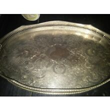 VINTAGE SHEFFIELD SILVER PLATED TRAY-OVAL WITH HANDLES, RISE AND FALL SIDES