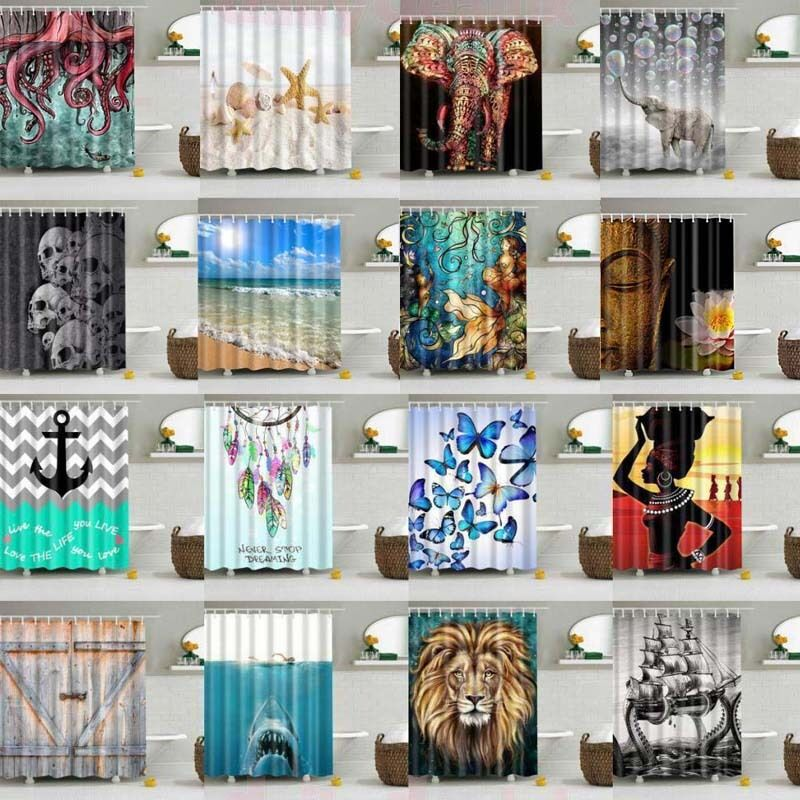 Details About UK Waterproof Polyester Fabric Bathroom Shower Curtain Sheer Panel Decor 12 Hook