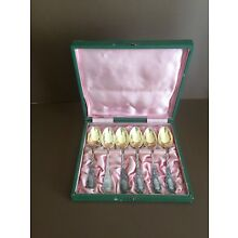 Russian Sterlig Silver 84 Tea Spoons Set of Six with Original Box.