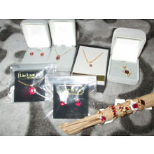 Vintage Jewelry Lot Rings, Necklaces Red Ruby Garnet Gems Gold Plated