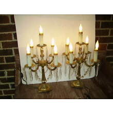 VINTAGE PAIR SPANISH BRASS CANDELABRA LAMPS/CRYSTAL PRISMS TABLE CHANDELIERS