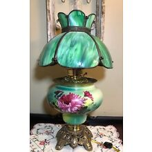 Antique Electrified Parlor Oil Lamp Hand Painted
