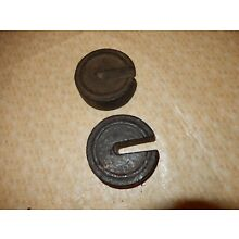 Set of 2 Vintage Cast Iron Stacking / Nesting Scale Weights:  1 1/2 pounds each