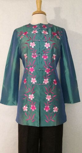 Asian Women Ladies Jackets Coats with Embroidered Floral Pattern Blue Color