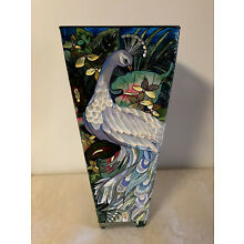 """Amia 10"""" Hand Painted Glass Vase/Peacock Design"""