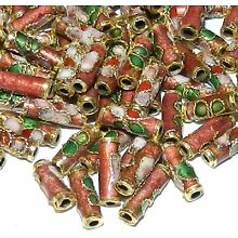 CL137 Rosy Red 9mm Round Tube Enamel Overlay on Metal Cloisonne Beads 25pc