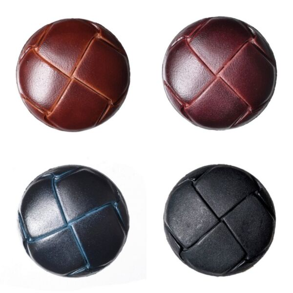 Imitation Leather Shank Buttons- 4 Sizes 4 Colours- Fast Dispatch & Free Postage