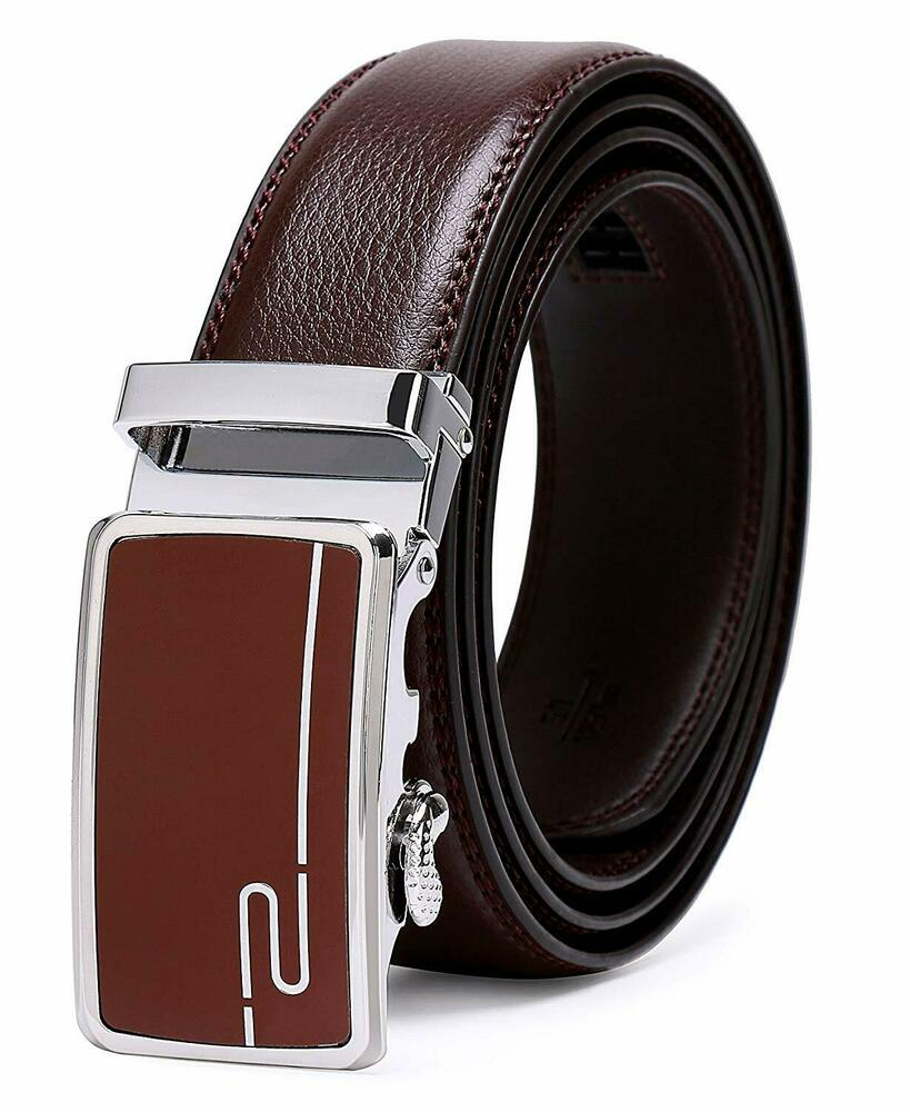 93bcfddec1add Details about ITIEZY Ratchet Belt for Men Sliding Automatic Buckle Designer  Leather
