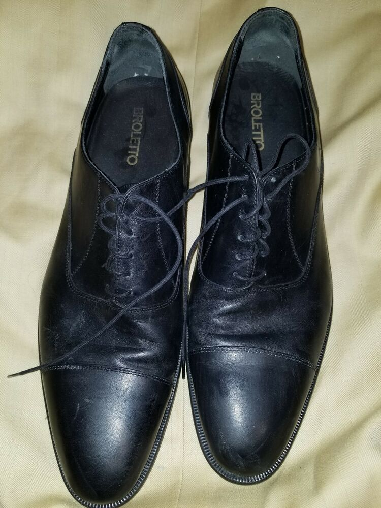 1847d857547 Details about BROLETTO MADE IN ITALY MEN BLACK LEATHER SHOES SIZE 12