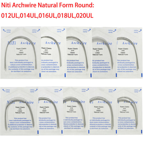 Dental Orthodontic Niti Archwire Super Elastic Natural Form Round Wire