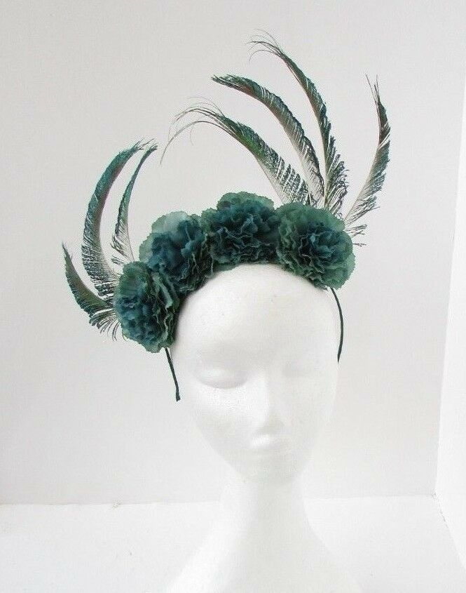 Details about Unique Bottle Dark Green Flower Peacock Feather Fascinator  Headband Races 6668 d3d96938b3b
