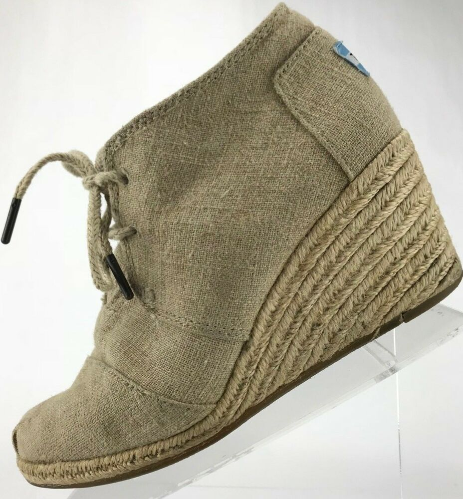 85cd4bbffa6 Details about Toms Wedge Boots - Lace Up Canvas Desert Ankle Chukka Booties  Women s 7 Brown